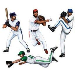 Decoraties Honkballers -  Een set met 4 decoraties van honkballers. Lengte: 50cm. Leuk voor een sport evenement, kinderfeest of gewoon als decoratie in een kinder of tiener slaapkamer.