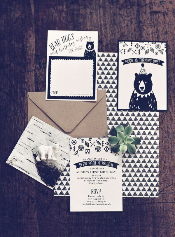 Cute grizzly bear first birthday party, with black and white invitations by HipHipHooray.com  Hipster bear in a party hat with geometric prints and a bohemian vibe!  Personalise online with your own text for an instant printable PDF, or get them professionally printed with free shipping.  Party styling by @jessieweddings  Image by @SarahHannamPhotography