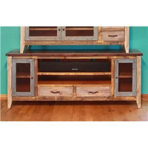 """International Furniture Direct 900 Antique Solid Pine 76"""" TV Stand"""