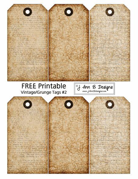 Vintage/Grunge Tags 2 - FREE Printable