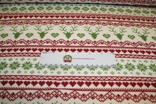 Jolly Holiday Fair Isle Deer Heart Cotton Spandex Knit Fabric - 1/2 yard