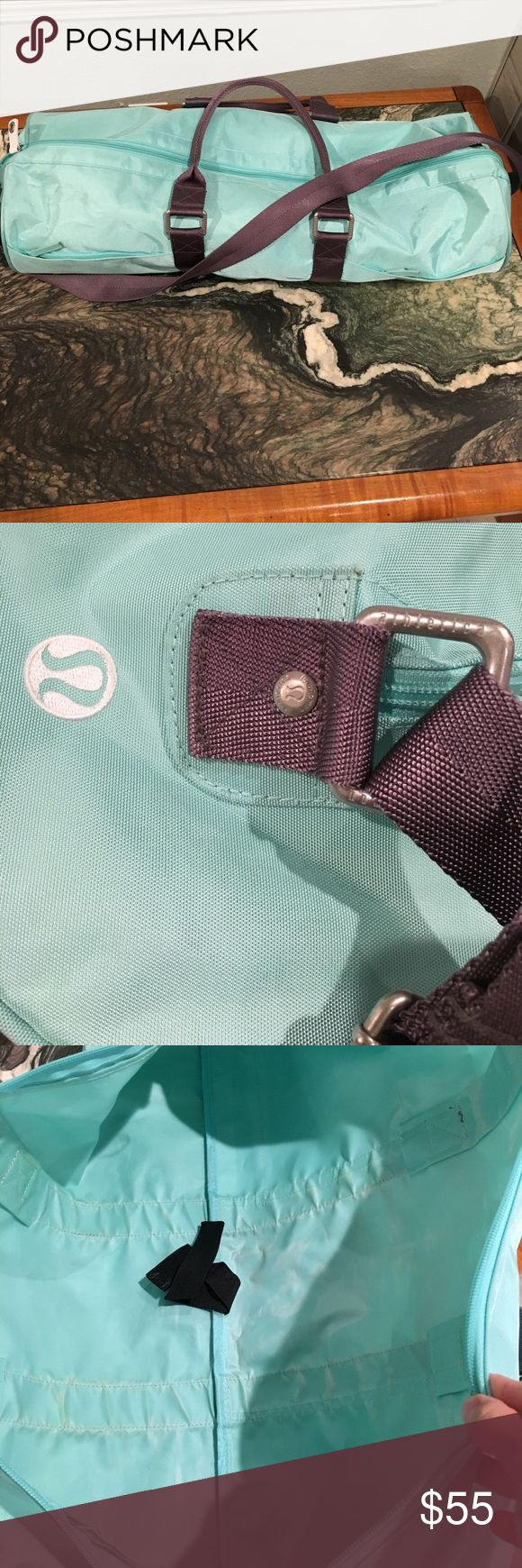 Lululemon Large yoga mat bag This is a teal old school yoga mat bag. I love it because it is large enough to hold the thicker manduka yoga mats with a little room to spare. It is free of rips, holes and stains and has a waterproof lining with vent holes as shown. Great condition! lululemon athletica Bags