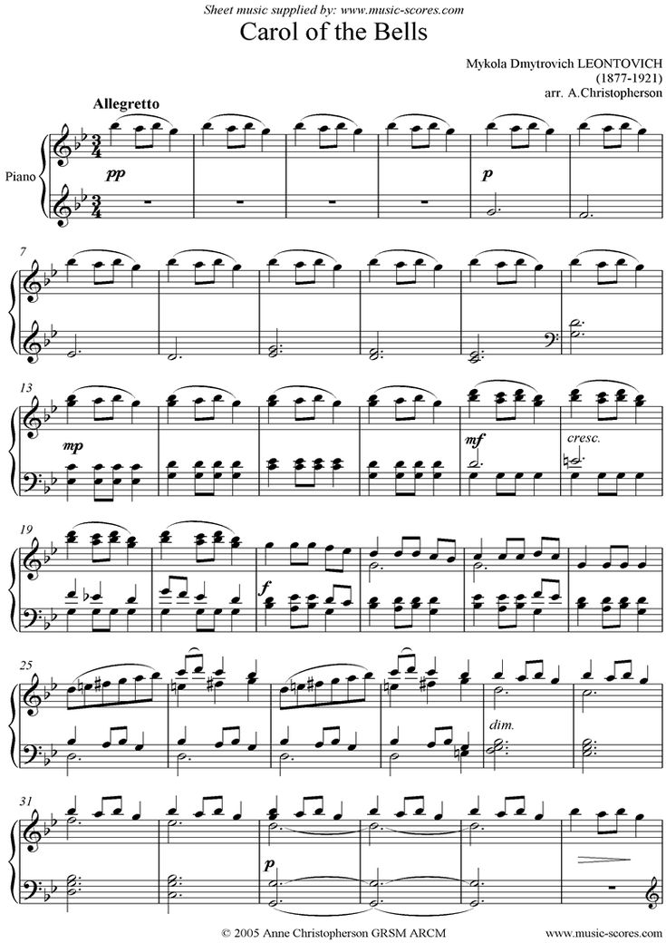 Bright image pertaining to carol of the bells free printable sheet music