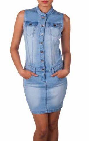 Sleeveless Button Down Denim Dress