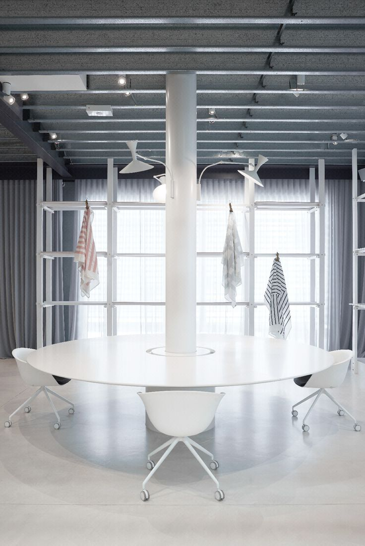 The large circular work table is great for creating a workspace promotes the exchanging of ideas. Shop our linen throws on display here: http://kateandkate.com.au/shop/category/linen/linen-throws/ #stripes #towels #detail