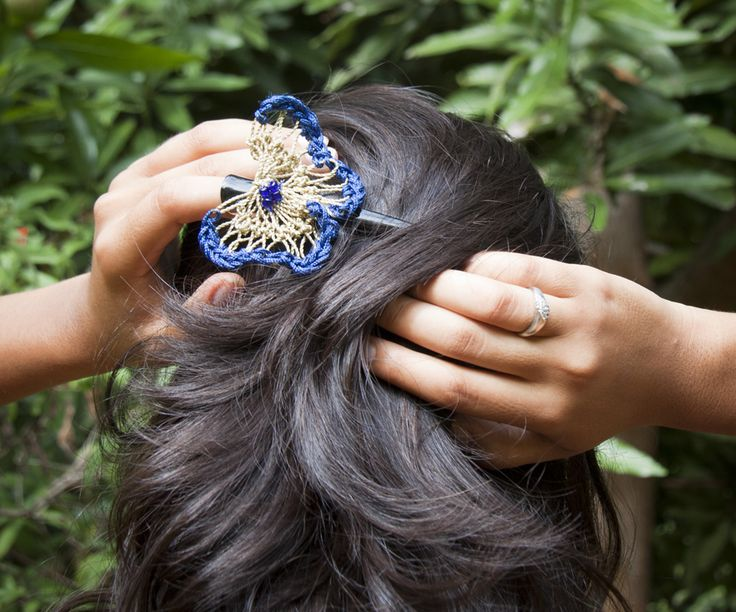 butterfly hair clip, hand made!