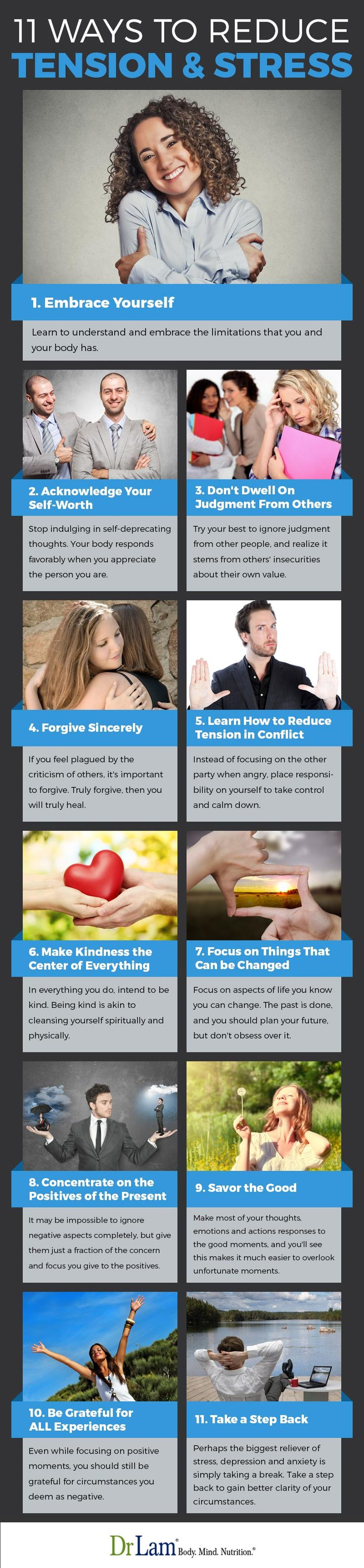Check out this easy to understand infographic on how to reduce tension and stress