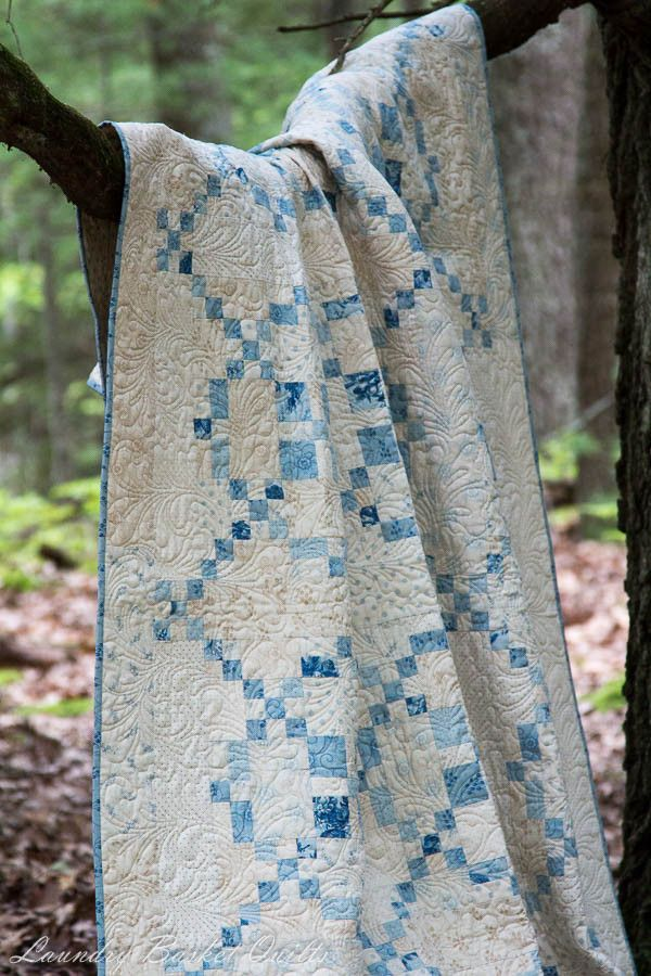 """{I loved using some light blues and snowy-colored backgrounds in one of my patterns from our """"Scrappy Fireworks"""" book.} Laundry Basket Quilts"""