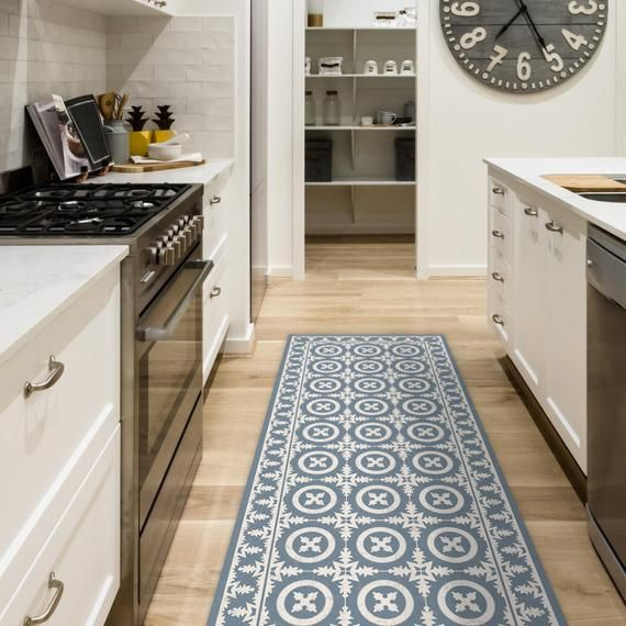 Vinyl Floor Mat With Decorative Tiles Design In Blue Linoleum Etsy In 2020 Decorative Tile Designs Kitchen Mat Vinyl Flooring