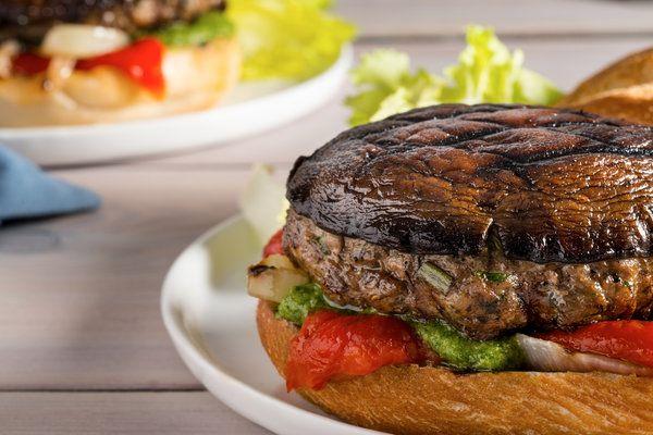 Recipe: Pork and portobello burgers    Photo: Francesco Tonelli for The New York Times