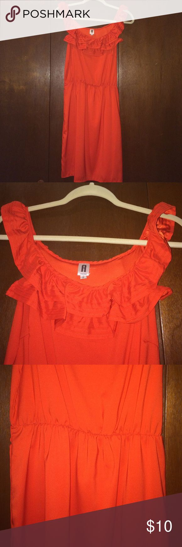 Festive dress! Bright blood orange midi dress, petite. Lovely ruffled neckline that goes off the shoulders with a synched waistline. Polyester. Never worn. NWOT Dresses Midi