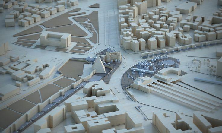 3D model, wood, architecture, urban