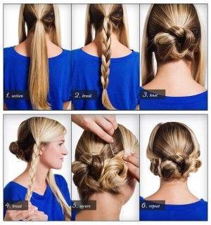 Recogido con trenzas  Divide tu cabello en tres secciones, dos al frente y una atrás, haz una trenza de tres cabos en cada una de las secciones y enrolla la trenza de la parte de atrás y después une las dos delanteras, puedes darle un aire más bohemio si dejas un poco de cabello suelto al frente y tendrás un recogido con trenzas.