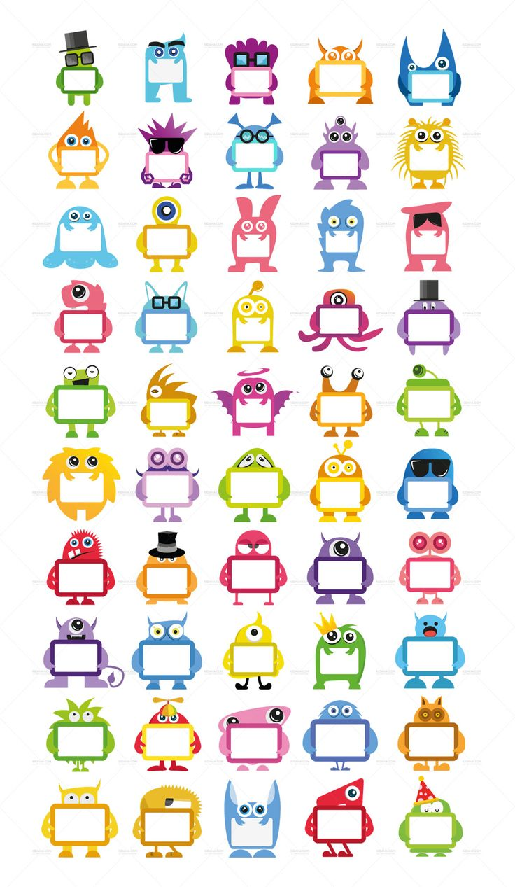 Monster invasion !!!! Cute cartoon character Name tag set download for your kids, for decorate your kid worksheets, school sheets, stickers