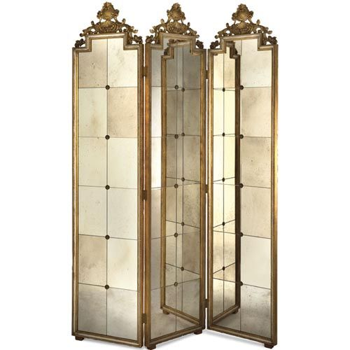 Three Panel Venetian Mirror Screen Elizabeth Marshall Screens & Panels Screens & Room Divi