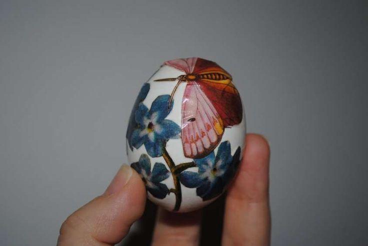 Decoupage per decorare le uova di pasqua - Carta da decoupage per le uova con fiori e farfalla