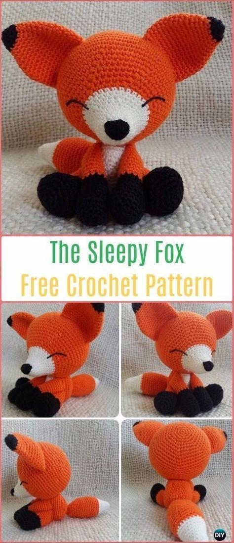 Amigurumi Crochet el patrón libre del Fox soñoliento - Crochet Amigurumi Fox Free Patterns