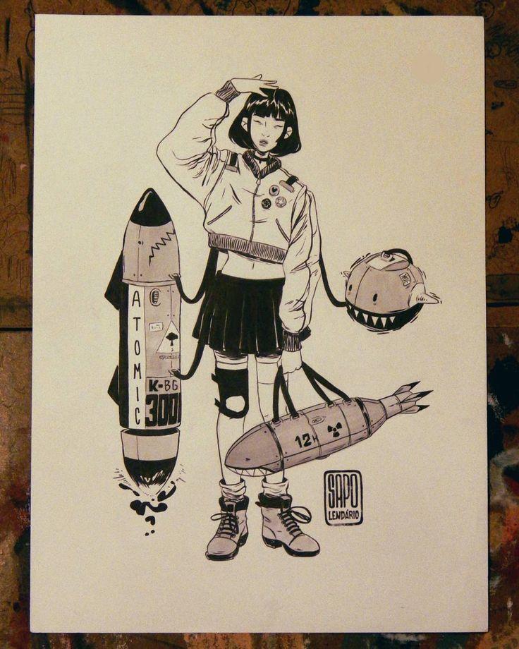 Garota 1 para o nosso inktober 2016! O tema desse ano que escolhemos é um pouco misturado, onde envolve armas, robôs, roupas e garotas: gangues !  #inktober #inktober2016 #ink #sapolendario #guns #armas #robot #robo  #girl #girls #gangues #talens #talensink #unipin #sakura #sinoart #sketchbook #drawing #illustration #artistsoninstagram #artists