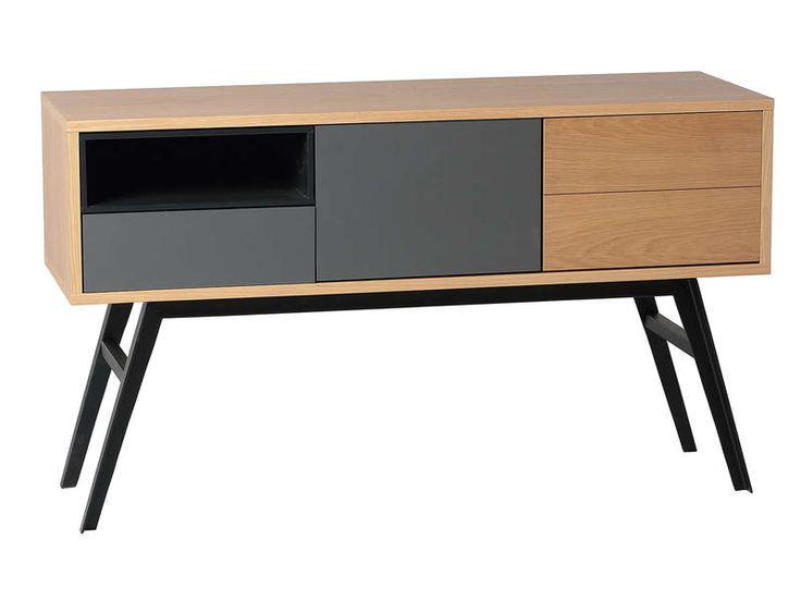 Console 2 portes+1 tiroir KLAY coloris chêne/gris/anthracite/noir - Vente de Console - Conforama