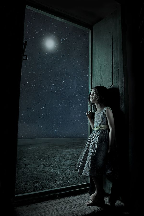 Amazing girl in moonlight
