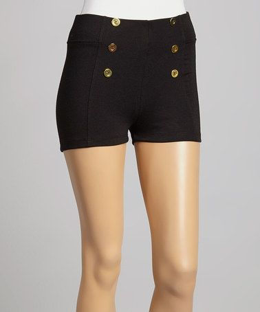 This Black & Gold High-Waist Shorts by Zenana is perfect! #zulilyfinds