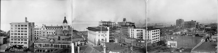 Downtown Vancouver c 1910. The left section shows the Pacific building on Hastings at Howe St. under construction, and the Post Office. The centre section shows the Canadian Bank of Commerce, Canada Life Building under construction, Spencers and MacDonald Coal.