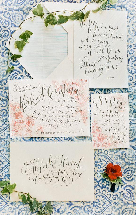 illustrated wedding invitations with simple, elegant calligraphy