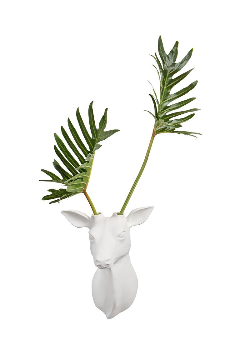 Trofeo de cerámica mate para colgar en la pared y usar de florero, aplique…