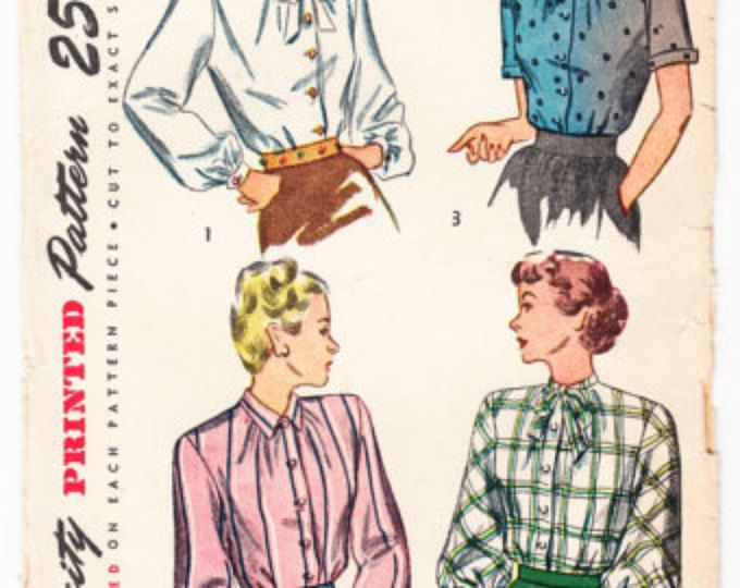 Vintage 1946 Simplicity 1752 Sewing Pattern Misses' and Women's Blouse Size 14 Bust 32