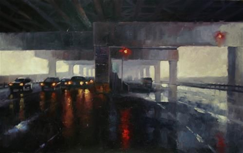 """Daily Paintworks - """"Under the Gardiner, Toronto"""" by Catherine Jeffrey"""