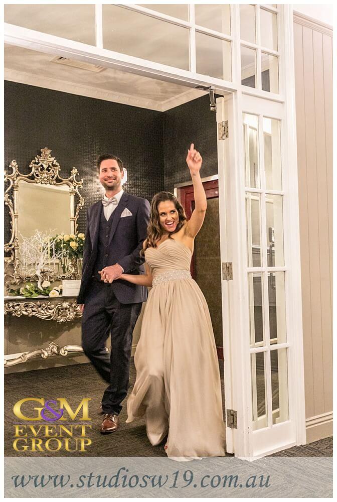 Brisbane Golf Club Aaron&Toni - Entrance || G&M Event Group Wedding DJs #brisbanewedding || Photo taken by @studiosw19