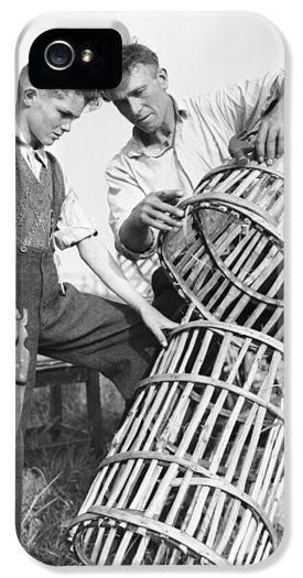 Making Lobster Pots Connemara 1959 iPhone Case by Irish Photo Archive