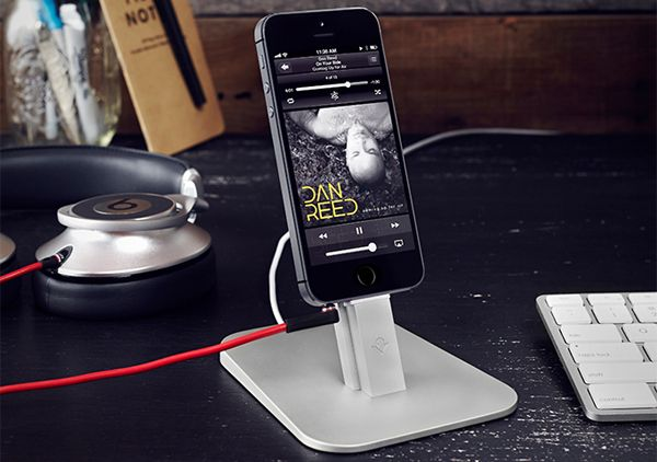 HiRise For iPhone; An iPhone stand that holds your iPhone high enough so that you don't have to dismount the phone to answer a call or read a message. This stand is compatible with many protective cases as well and won't block the mic, speakers or the headphone ports. [$34.99]