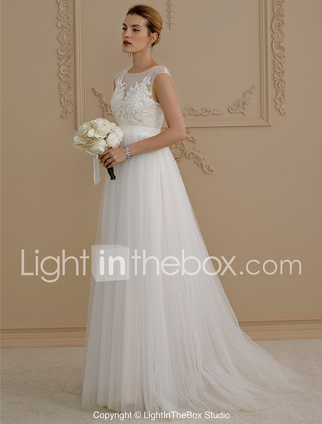 A-Line Princess Illusion Neckline Sweep / Brush Train Tulle Wedding Dress with Appliques Sash / Ribbon Button by LAN TING BRIDE® 2018 - $159.99