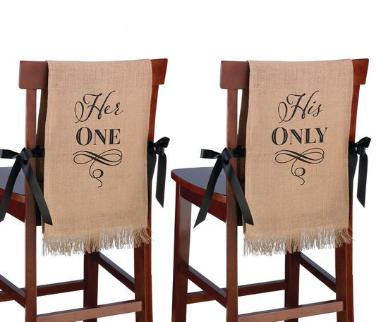 """Lillian Rose """"Her One, His Only"""" Rustic Burlap Chair Covers"""