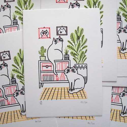 Cat Decor Gocco Print
