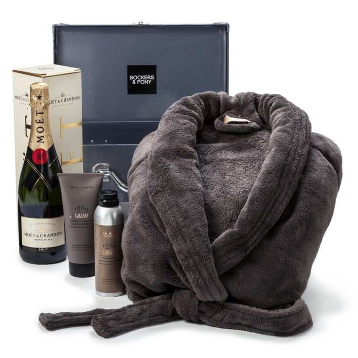 The Crush Mens Hamper | Mens Pamper Hamper | Romance and Robe Hamper for Men  For the amazing man in your life. Husband, boyfriend, or crush, this gift will do the trick. The most perfect Italian body products for some bathroom pampering, a robe for lounging and french champagne for general enjoyment.