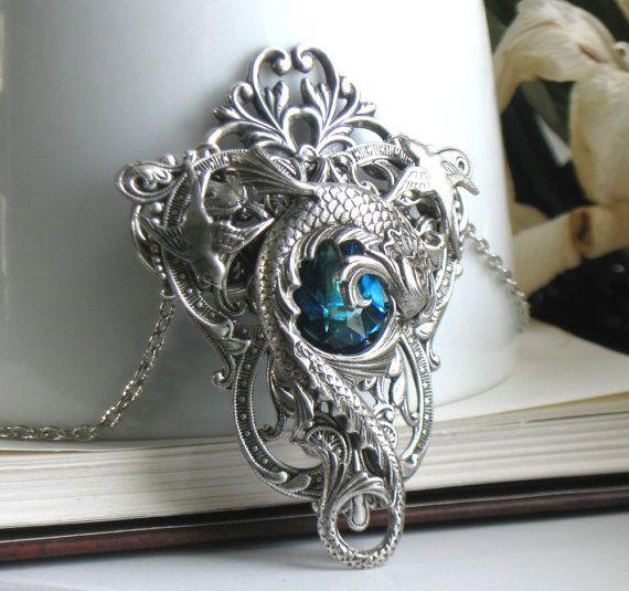 Celestial Maelstrom Aged Silver and Swarovski Necklace - Fantasy - Silver - Blue - Water - Wedding - Bridal - Dragon. $72.00, via Etsy.