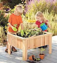 Child-size wood planter that is deep enough to hold tomato plants, lettuce, peppers, and more, creating a learning experience from seedlings to harvest.