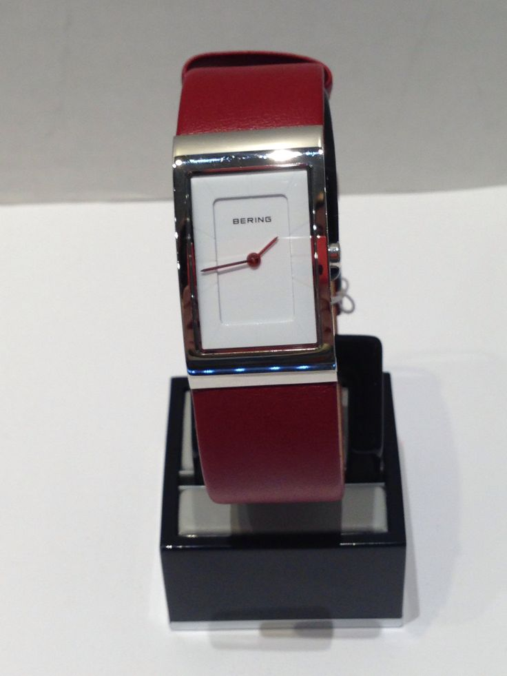 Ladies Bering white with red leather strap