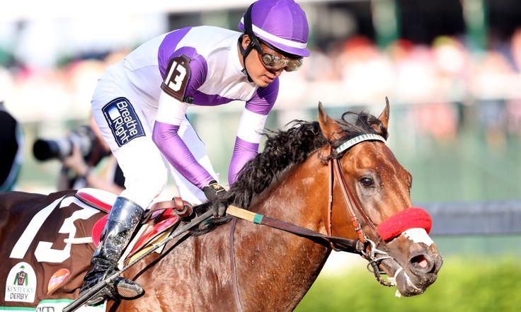 nyquist horse kentucky derby | LOUISVILLE, KY - MAY 07: Nyquist #13, ridden by Mario Gutierrez, wins ...