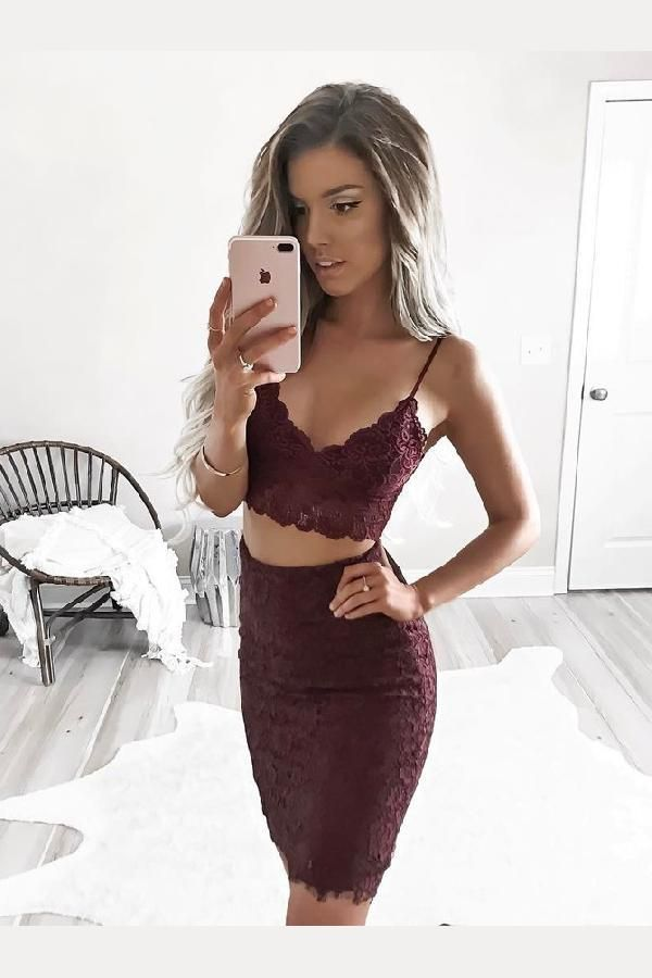 Feminine Two Pieces Homecoming Dresses, Homecoming Dresses Lace