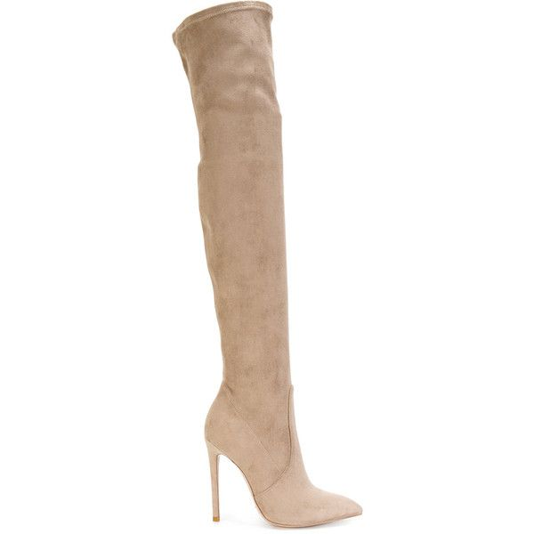 Gianni Renzi knee high boots (€855) ❤ liked on Polyvore featuring shoes, boots, genuine leather boots, leather boots, nude boots, real leather boots and over-knee boots