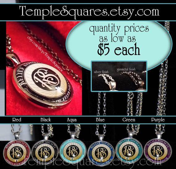 Jewelry Relief Society Emblem Pendant Necklace por templesquares