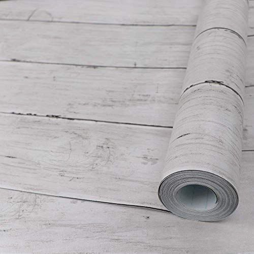 Removable Wallpaper Hode White Wood Contact Paper Self Adhesive Wallpaper,Peel and Stick 45X300cm Wood Removable Decorative Vinyl Stickers For Smooth Surfaces