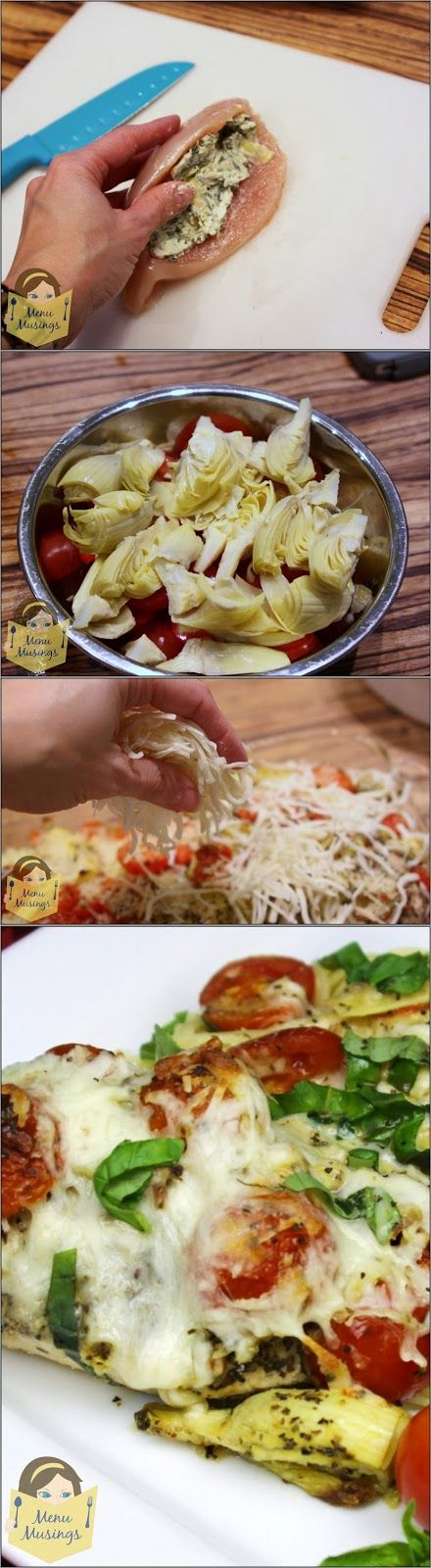 Step-by-step tutorial to making an easy Spinach Artichoke Dip Stuffed Chicken Breasts.  Video tutorial included. how to stuff a chicken breast, easy chicken recipes, date night recipes, supper club recipes, family friendly recipes, kids in the kitchen, kids can cook,