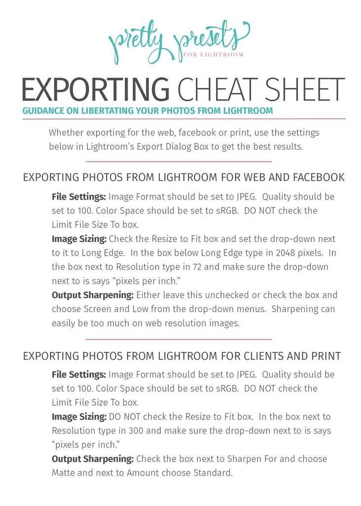 Export settings for lightroom for print