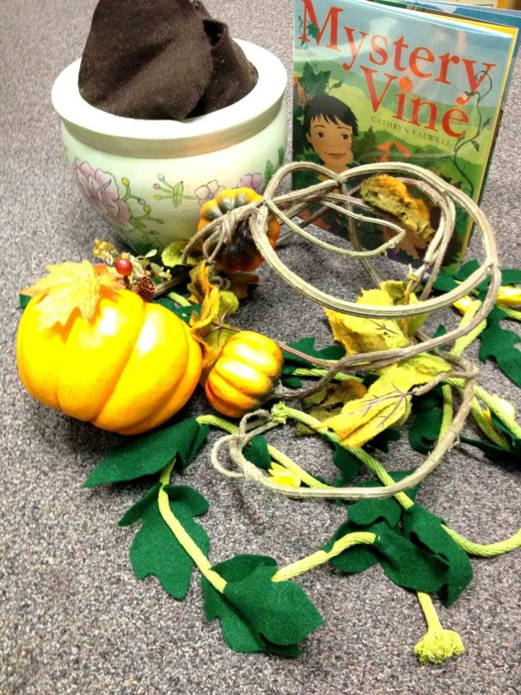 Growing pumpkin storytime prop for Cathryn Falwell's MYSTERY VINE.