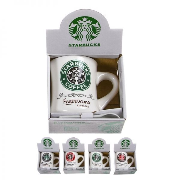 Taza con Cuchara  - Taza de ceramica Starbucks, con cucharita, en su cajita, surtidos entre los 4 modelos segun disponibilidad.