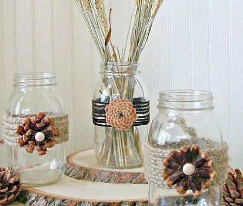 country decorating ideas, home decor, repurposing upcycling, DIY Pine Cone Mason Jars via Uncommon Designs
